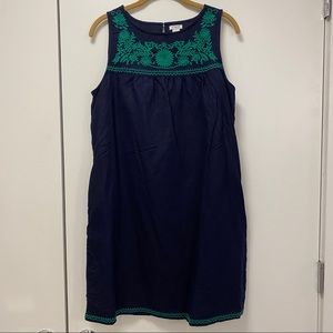 J.Crew Factory linen cotton embroidered dress m